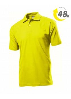 Unisex piqué tenisz póló, citromsárga - 48 órán belül Önnél!*