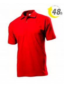 Unisex piqué tenisz póló, piros - 48 órán belül Önnél!*