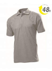Unisex piqué tenisz póló, melírszürke - 48 órán belül Önnél!*