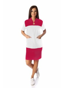 Egyenes vonalú bebújós női köpeny, fehér alapon választható színű díszítéssel 802